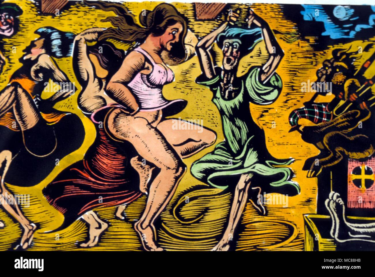 DANCE - WITCH DANCE  Witches dancing to the skirl of the devil's bagpipes.  Hand-coloured print after the woodengraving by D.P. Bliss. - Stock Image