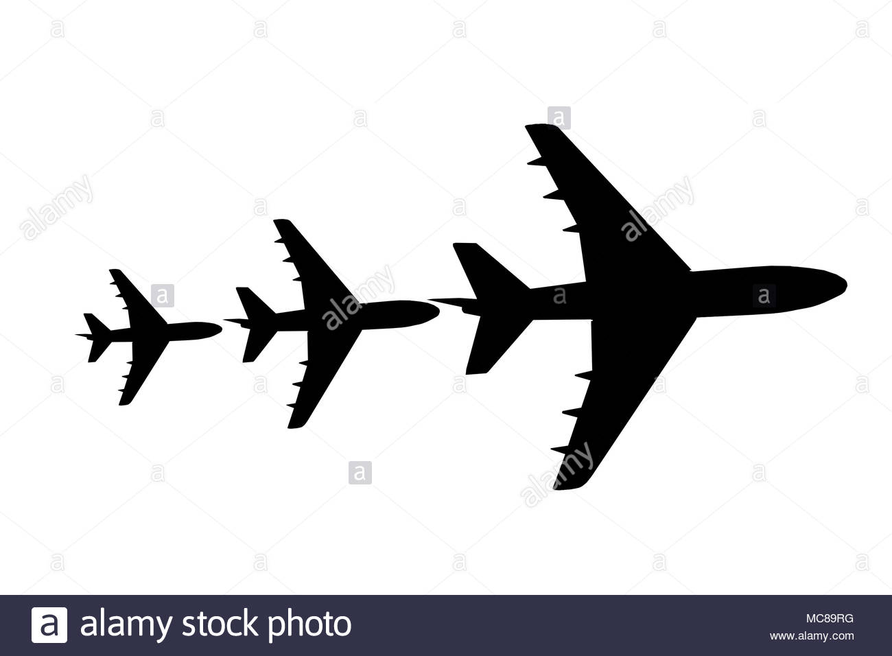 Airplane on white background - Stock Image