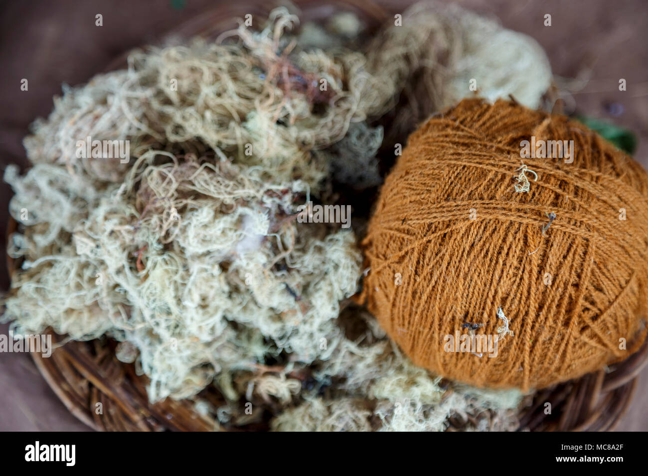 Ball of wool and ingredients used to create color, El Balcon del Inka, Chinchero, Cusco, Peru - Stock Image