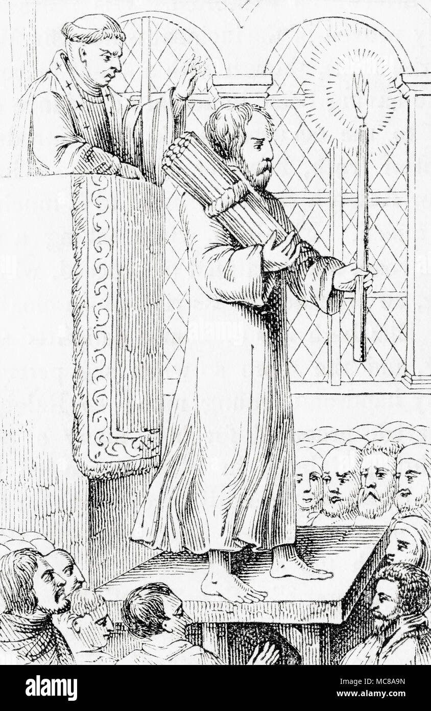 James Bainham doing penance.  James Bainham, died 1532.  English lawyer and Protestant reformer, burned as a heretic in 1532.   From Old England: A Pictorial Museum, published 1847. - Stock Image