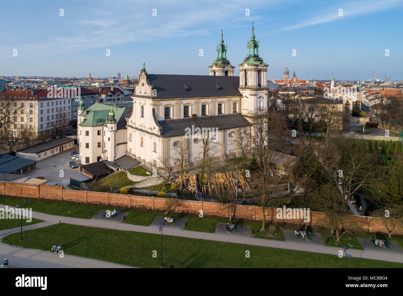 Krakow, Poland. Old city with Paulinite monastery, St Stanislaus church, a.k.a. Skalka, far view of Kazimierz, old Jewish district, and other churches - Stock Image