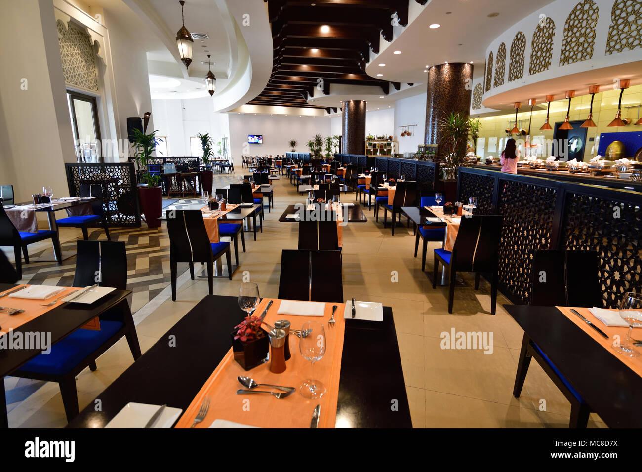 Ajman, UAE - April 8. 2018. restaurant at resort Bahi Palace - Stock Image