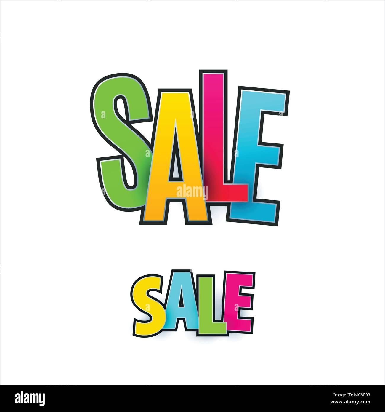 set of sale banner template design special offer colourful letters