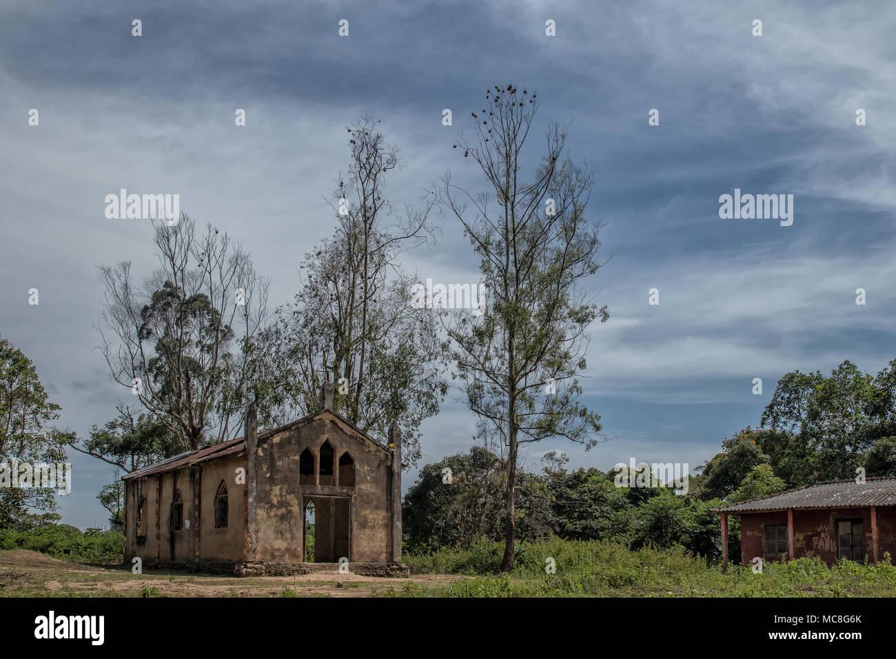 Church near malanje, Angola, Africa, Portuguese colonial time church. Stock Photo