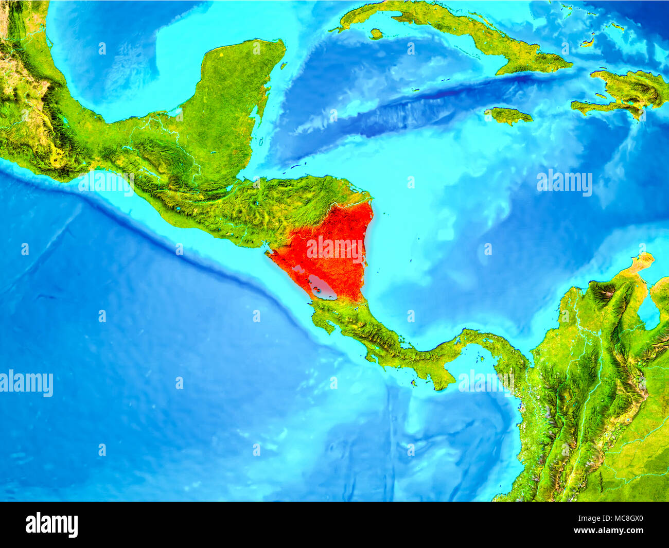 Nicaragua Highlighted In Red On Planet Earth 3d Illustration Elements Of This Image Furnished By Nasa Stock Photo Alamy