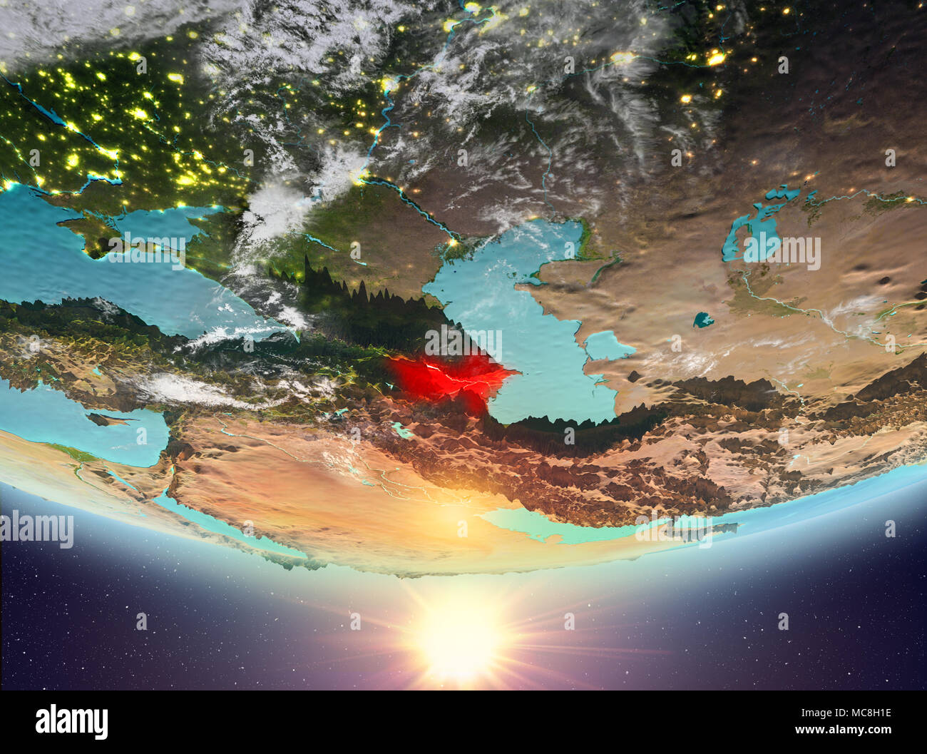 Azerbaijan during sunrise highlighted in red on planet Earth with clouds. 3D illustration. Elements of this image furnished by NASA. - Stock Image