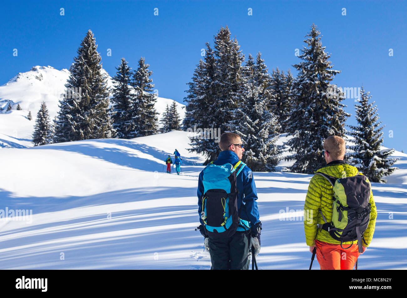 Backcountry skiing in Rhone Alpes of France on one of the closest summits to Seez village - Clopet. - Stock Image