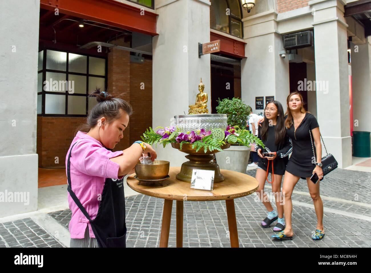 Songkran celebration (Thai New Year) at One Nimman Shopping Mall, Chiang Mai - Stock Image