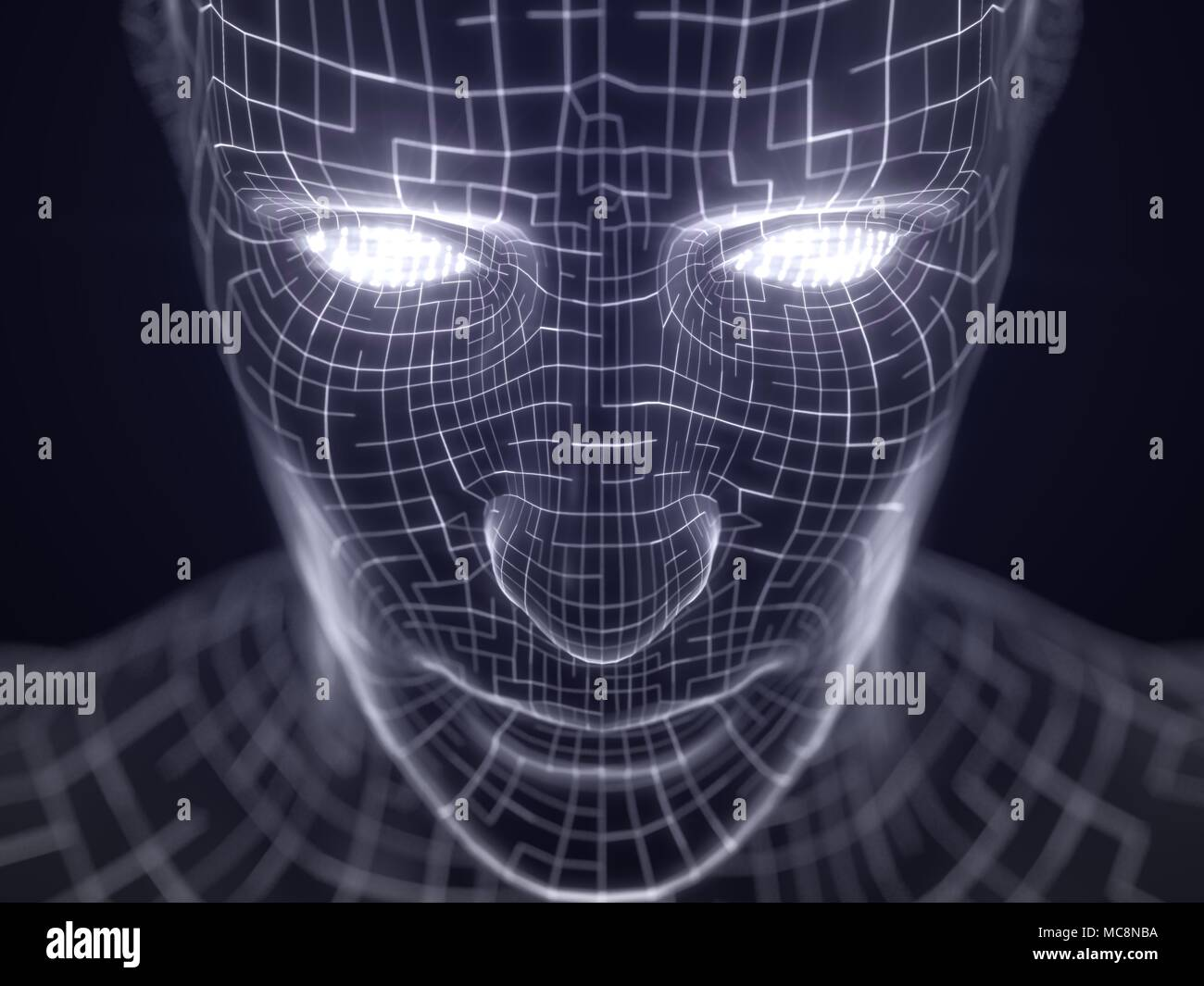 artificial intelligence concept with virtual human avatar. 3d illustration. suitable for technology, artificial intelligence, data mining,deep learnin - Stock Image