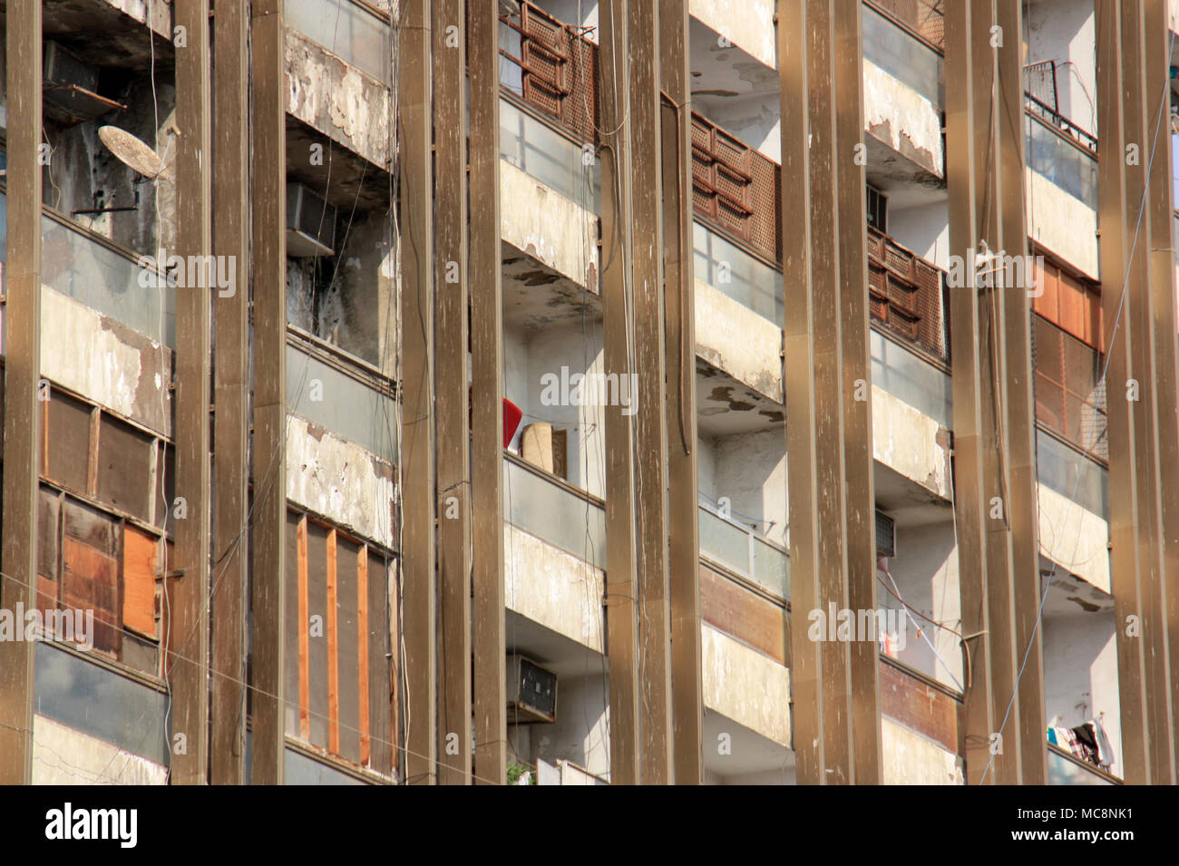 Balconies on an Worker's Apartment Building in Jeddah - Stock Image