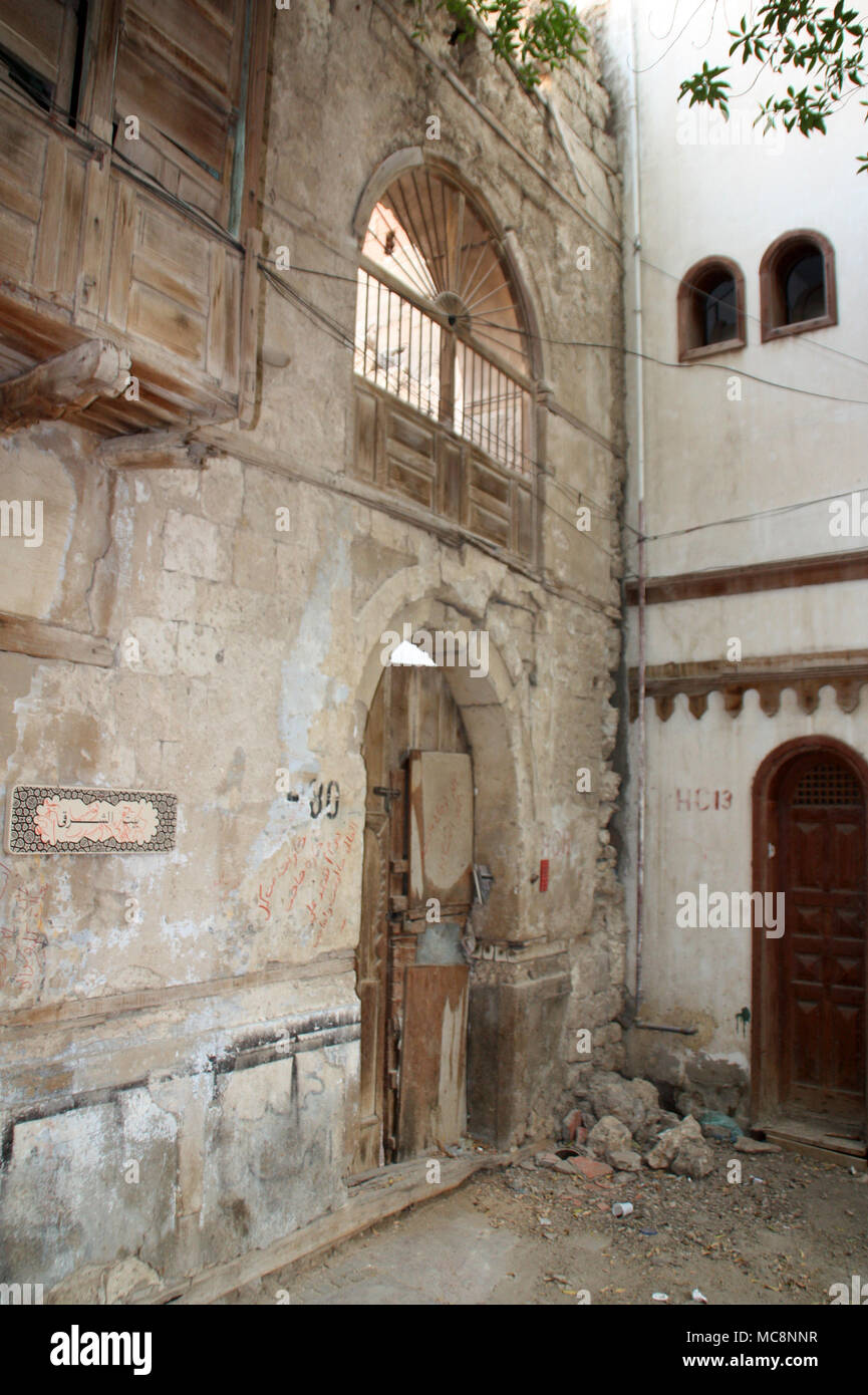 Decrepit House in Al-Balad, the Historic District of Jeddah - Stock Image