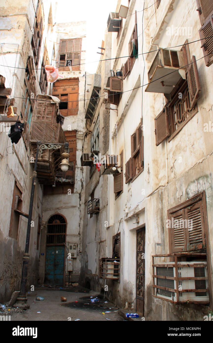 Residential Area within the Historic District (Al Balad) in Jeddah, Saudi Arabia - Stock Image