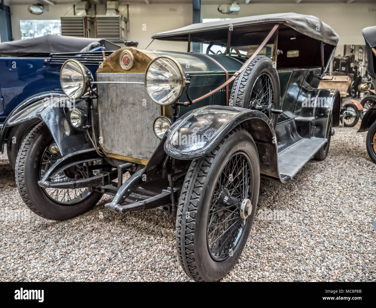 PRAGUE, CZECH REPUBLIC - MARCH 8 2017: Oldtimer Laurin & Klement RK-M, manufactured between 1913 and 1921, showcased in the National Technical Museum  - Stock Image