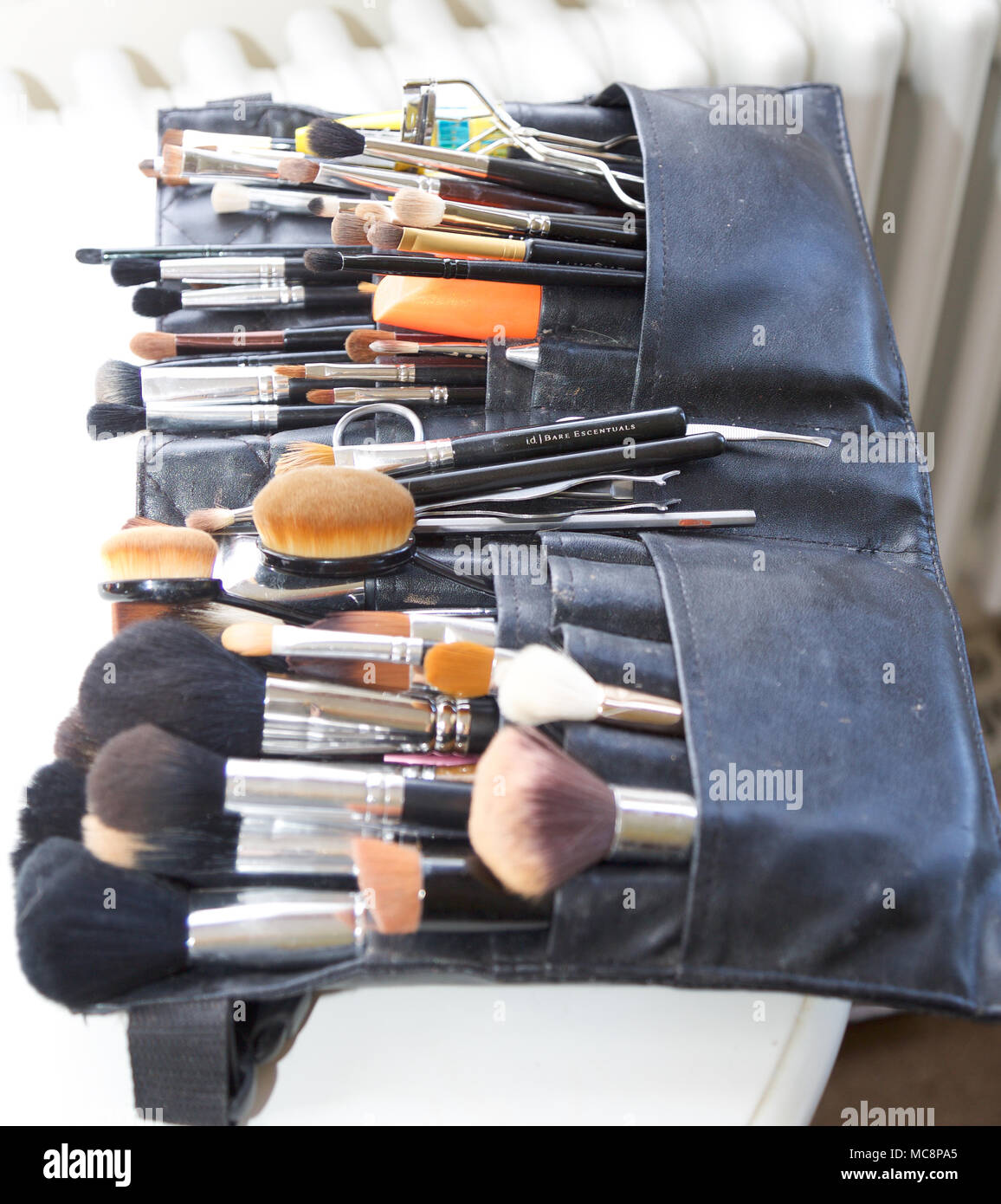 Professional make up brushes in a case - Stock Image