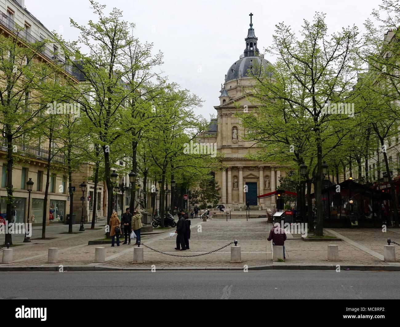 Sorbonne Chapel at Place de La Sorbonne in the 6th Arrondissement. Paris, France. - Stock Image