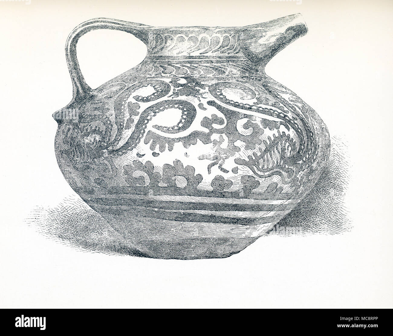 This illustration dates to around 1900. It shows a Minoan Vase or jug that was in the Abbott Collection and is now in the Brooklyn Museum in New York. The vase is considered one of the world's most important works of Minoan pottery. The designs show five mollusks that known as nautili floating above the sea floor. The undulating lines of the water plants and nautili tentacles reflect the Minoans love of blod, sweeping designs. For the Egyptians, Minoan painting must have provided an exotic contrats to their own balanced and ordered designs. It dates to around 1575 to 1500  B.C. - Stock Image