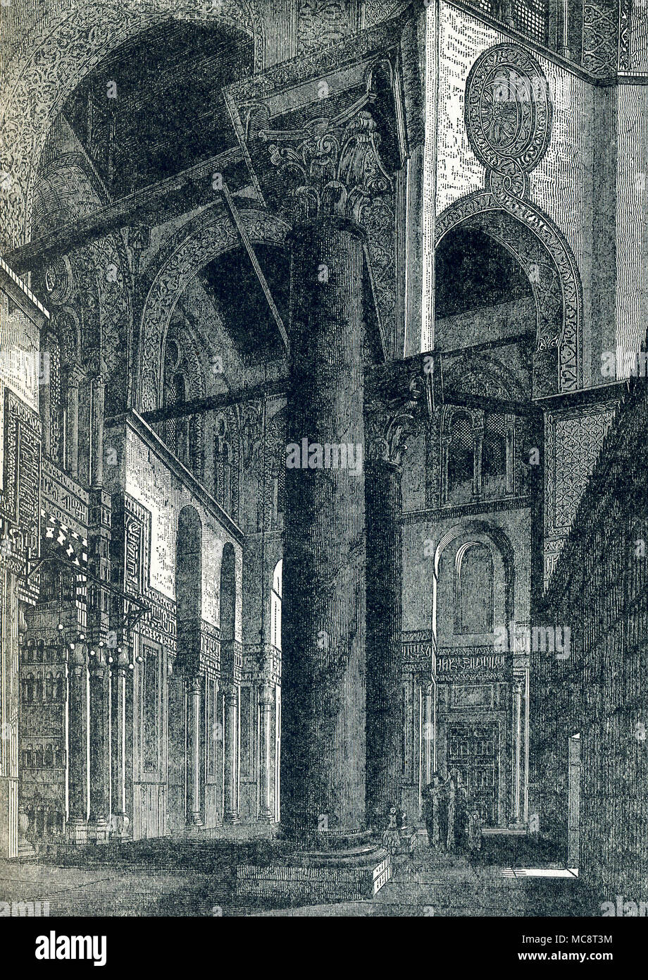 This illustration dates to around 1900. It shows a window in the complex of the Sultan al-Mansur Qalawun (also spelled Kilawun). It is located on al-Muizz li-Din Allah Street, in an area that used to be part of the Western Fatimid Palace in Cairo, Egypt. It dates to A.D. 1285 and the Mamluk period in Egypt. The master architect was Amir Alam al-Din al-Shuja'i. The complex includes a mausoleum, a madrasa, and a hospital. It is made of stone and comprises vertical arched recesses borne by marble pillars (seen here) within which are windows decorated with interlaced geometric shapes. - Stock Image