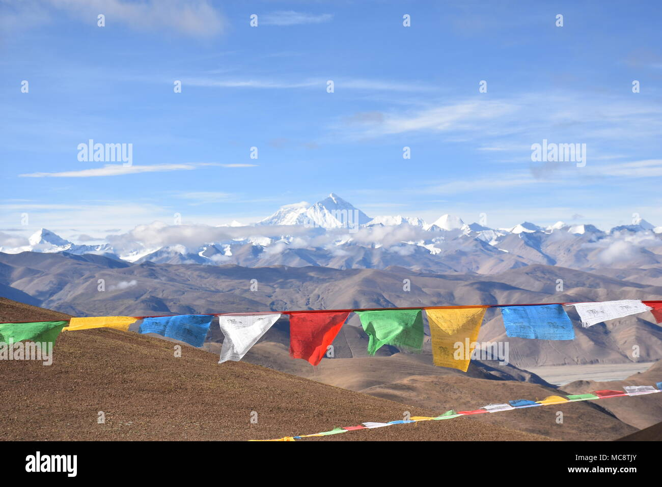 View of Mt Everest fromTibet - Stock Image