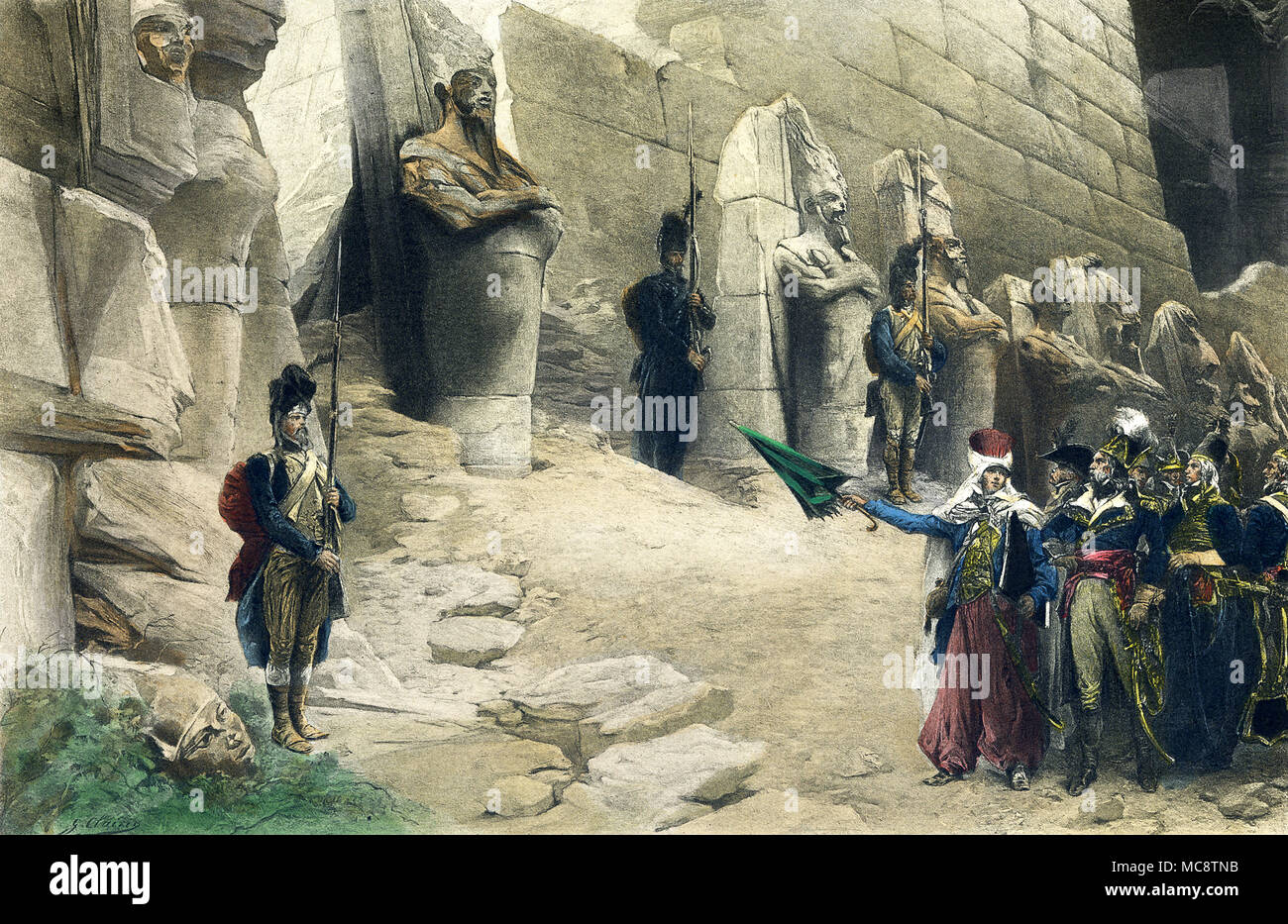 This illustration dates to around 1900 and shows Napoleon's soldiers at Karnak. When Napoleon was n Egypt, he toured the ancient sites, including the Sphinx, and had his savants note all pertinent facts. - Stock Image