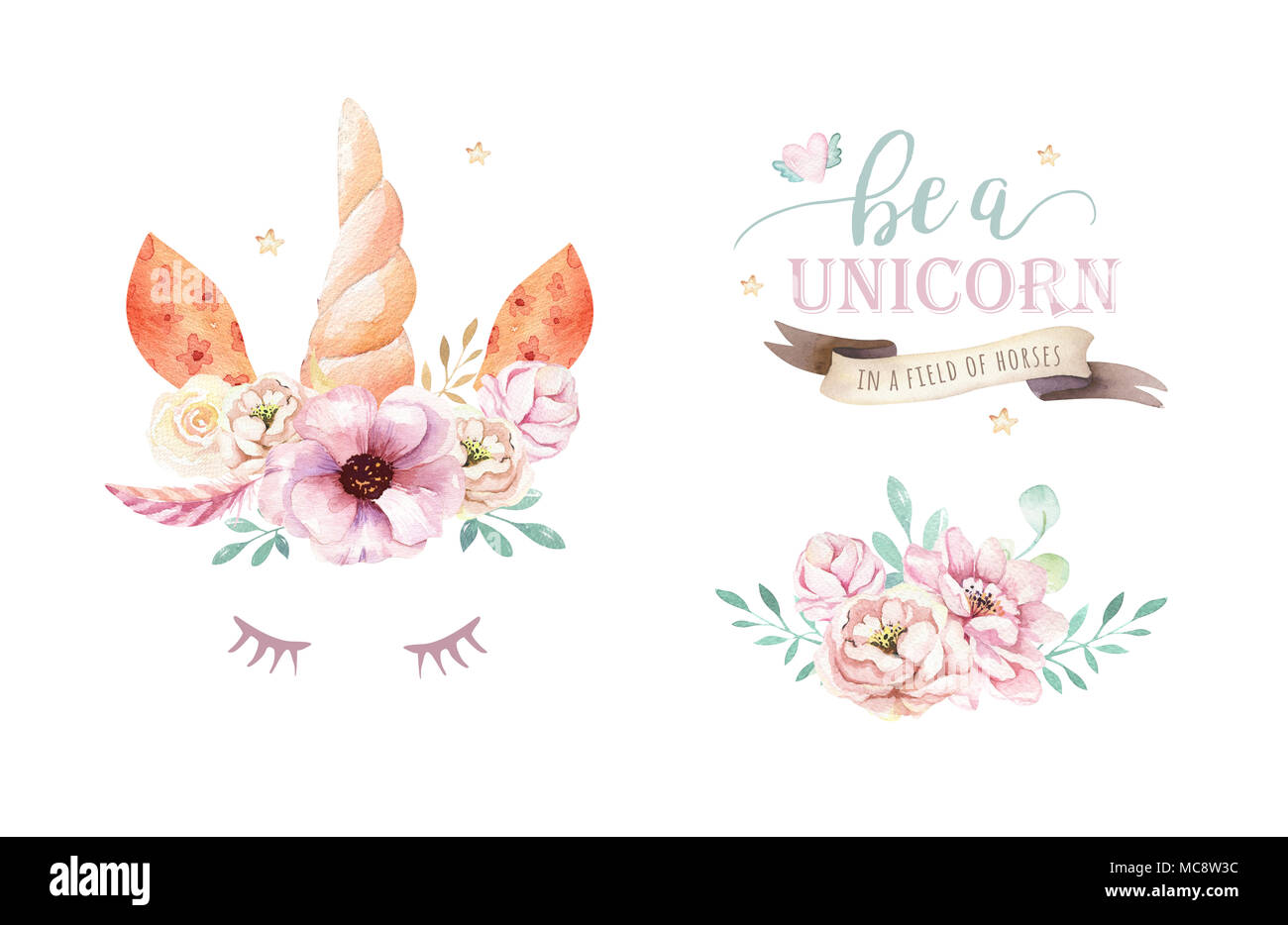 Isolated cute watercolor unicorn clipart with flowers nursery isolated cute watercolor unicorn clipart with flowers nursery unicorns illustration princess rainbow poster trendy pink cartoon pony horse mightylinksfo