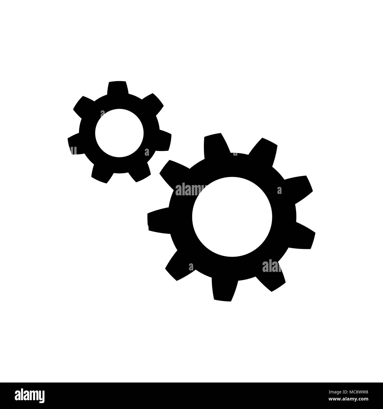Gear icon in flat style. Wheel symbol - Stock Vector