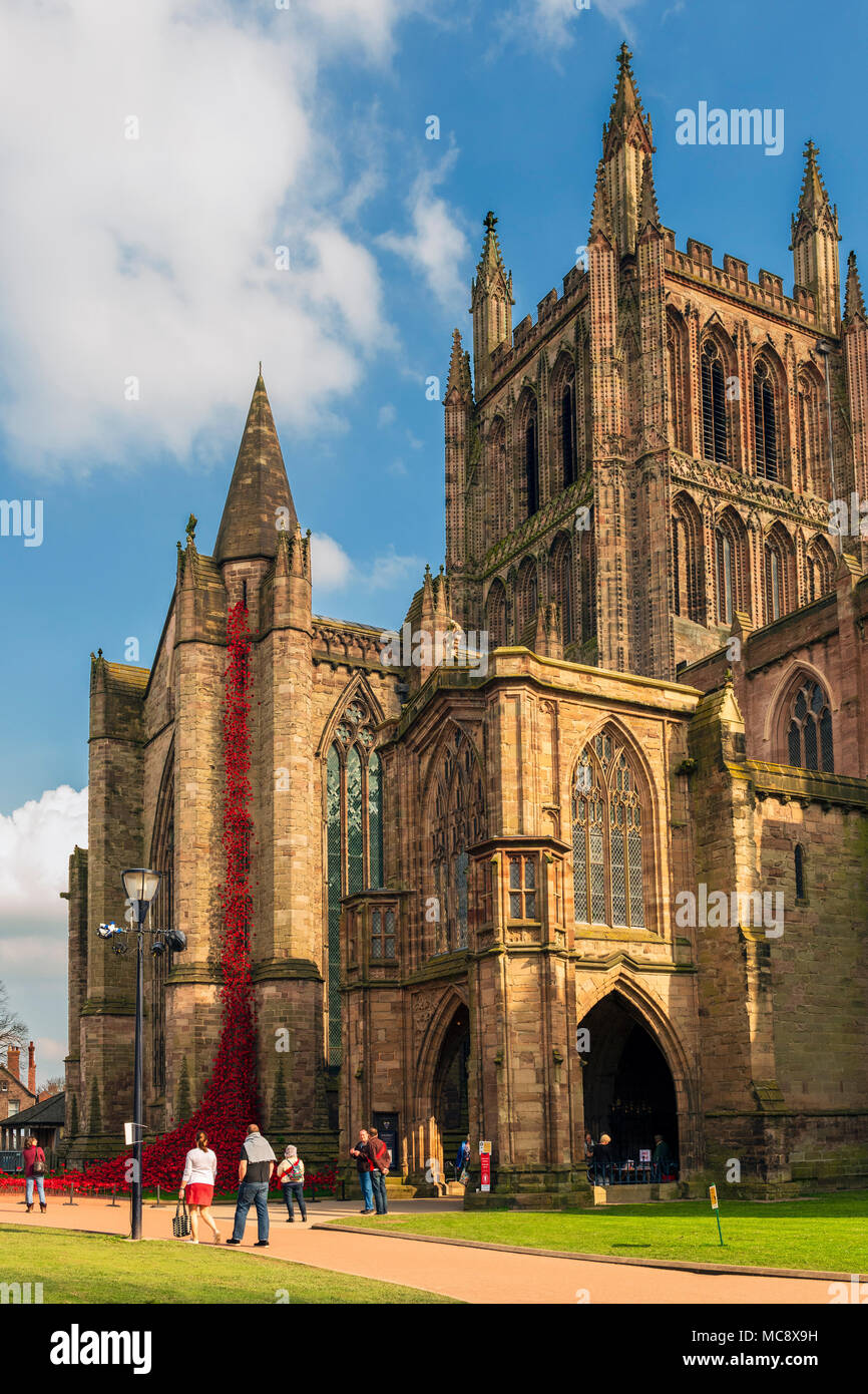Hereford Cathedral poppies weeping window sculpture, UK. - Stock Image