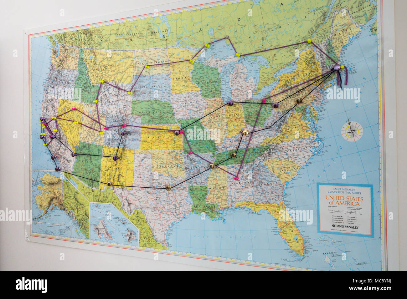 Map of the United States Showing Vacation Trip Routes, USA - Stock Image