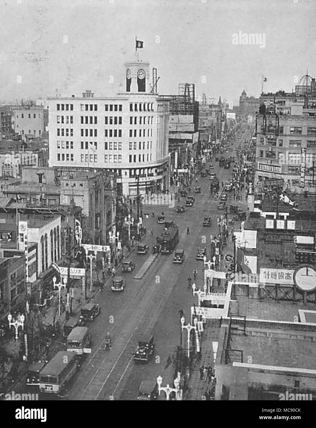 Ginza area in 1933 Stock Photo