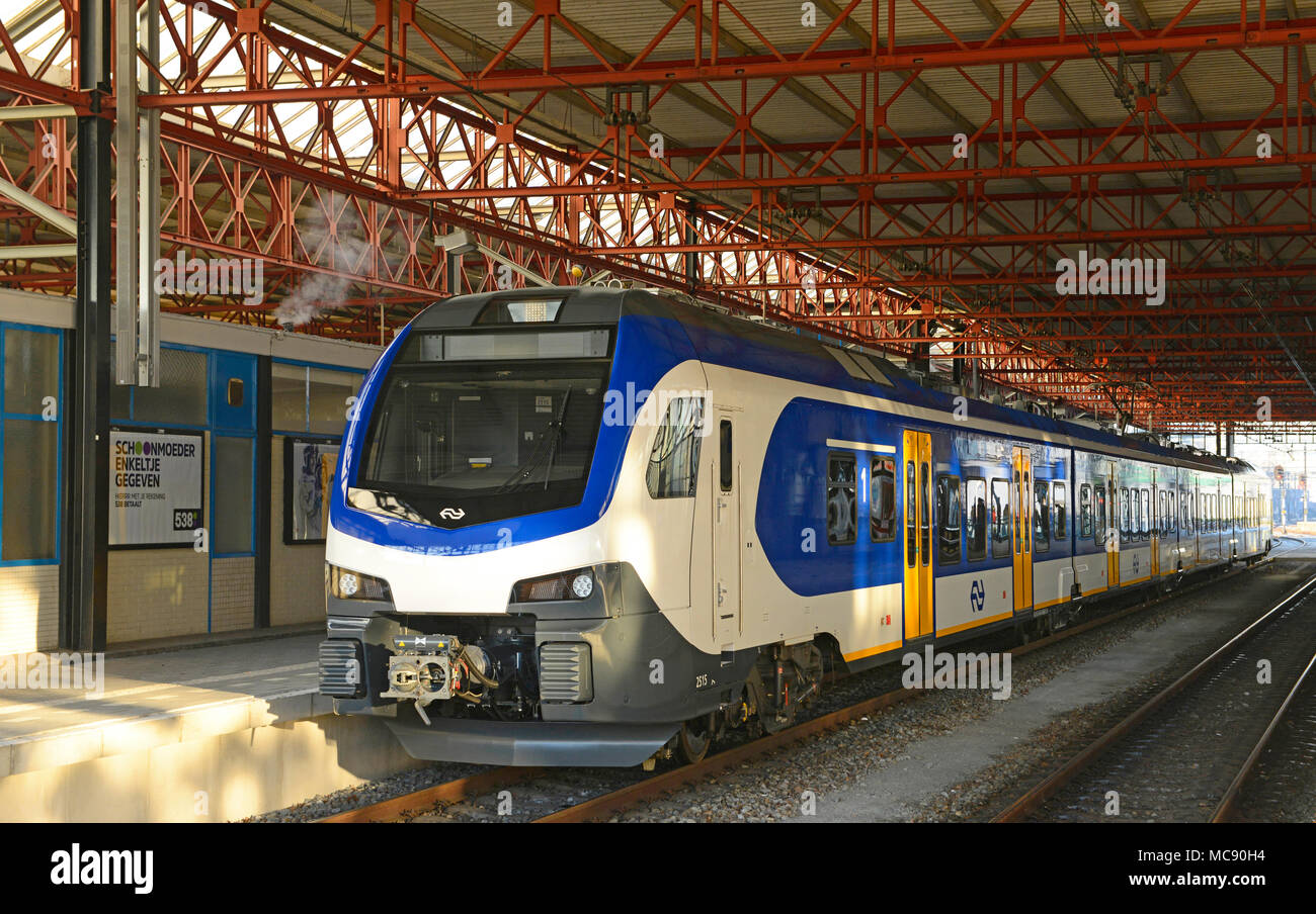 An electric multiple unit at Eindhoven station in the Netherlands - Stock Image