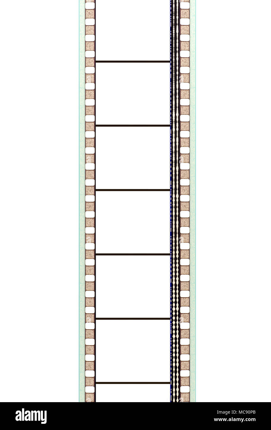 35mm movie film strip with soundtrack and blank frames Stock Photo ...