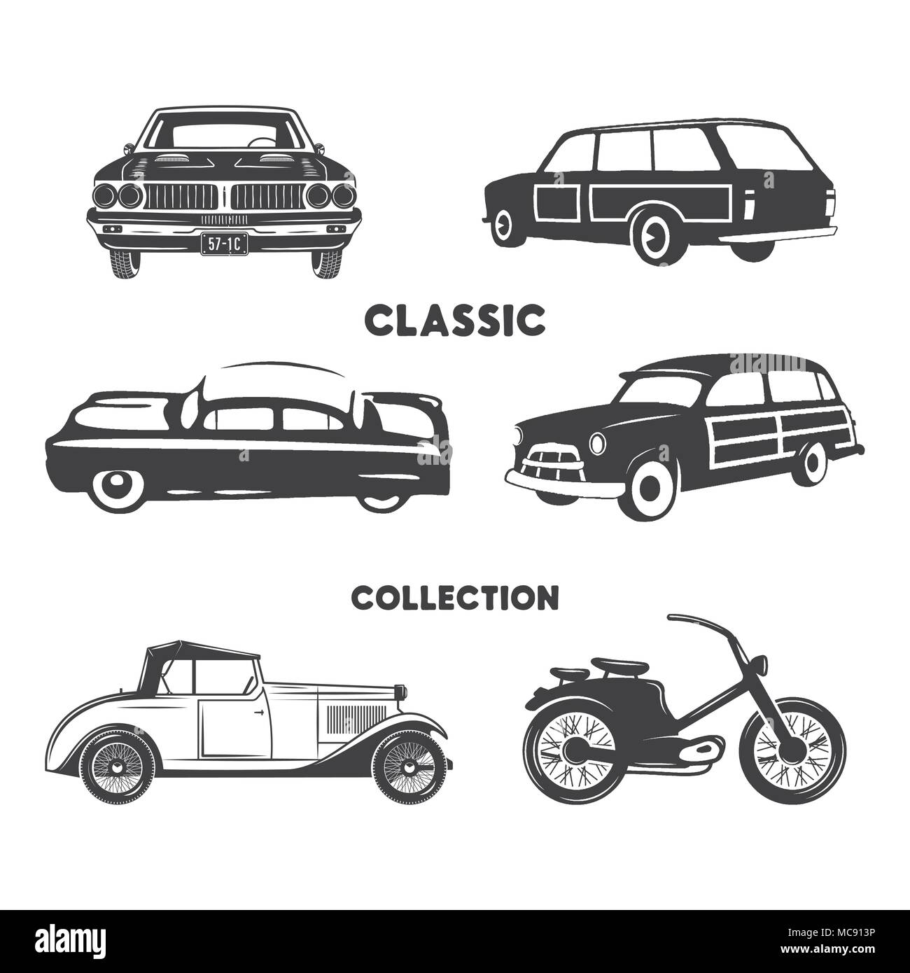 Classic cars, vintage car icons, symbols set.Vintage hand drawn cars, muscle, motorcycle elements. Use for logo, labels, t-shirt prints, tee graphics. Stock vector design isolated on white background. - Stock Vector