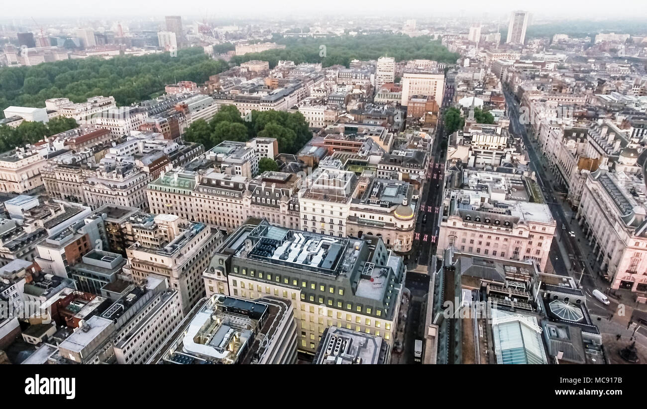 Central London Buildings Aerial View around St James's and Piccadilly feat. St James's Park and Green Park in the Background with Apartment Roofs - Stock Image