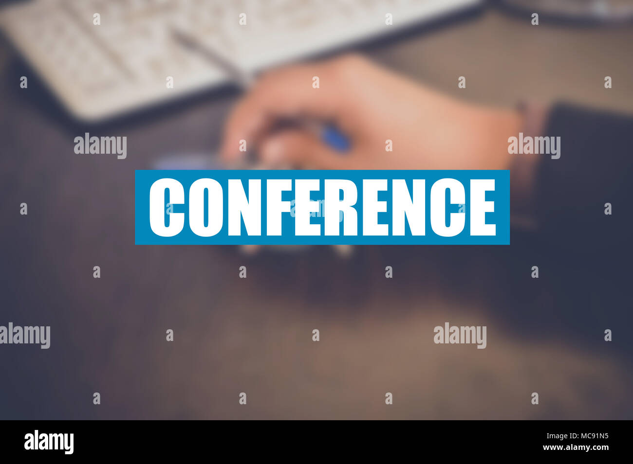 conference word with blurring background - Stock Image