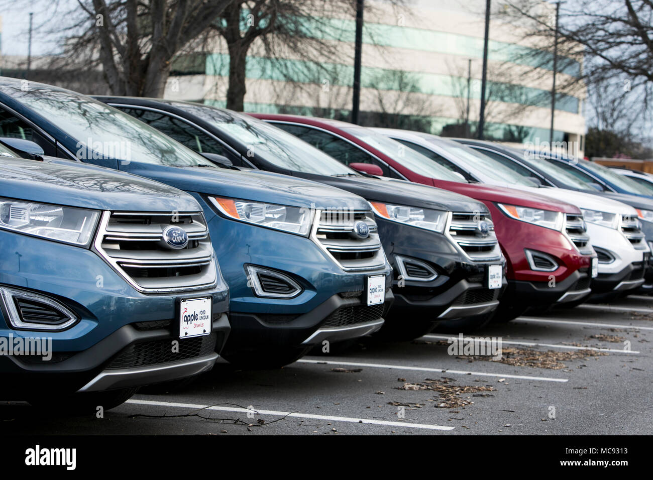 A Row Of New Ford Edge Suv Vehicles At A Car Dealership In Columbia Maryland