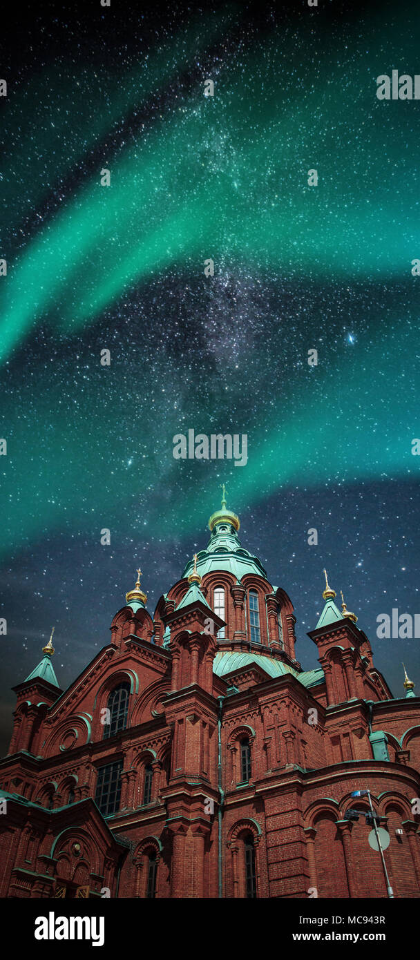 Polar lights, aurora. Milky Way. picturesque and very beautiful  photos Helsinki - Stock Image