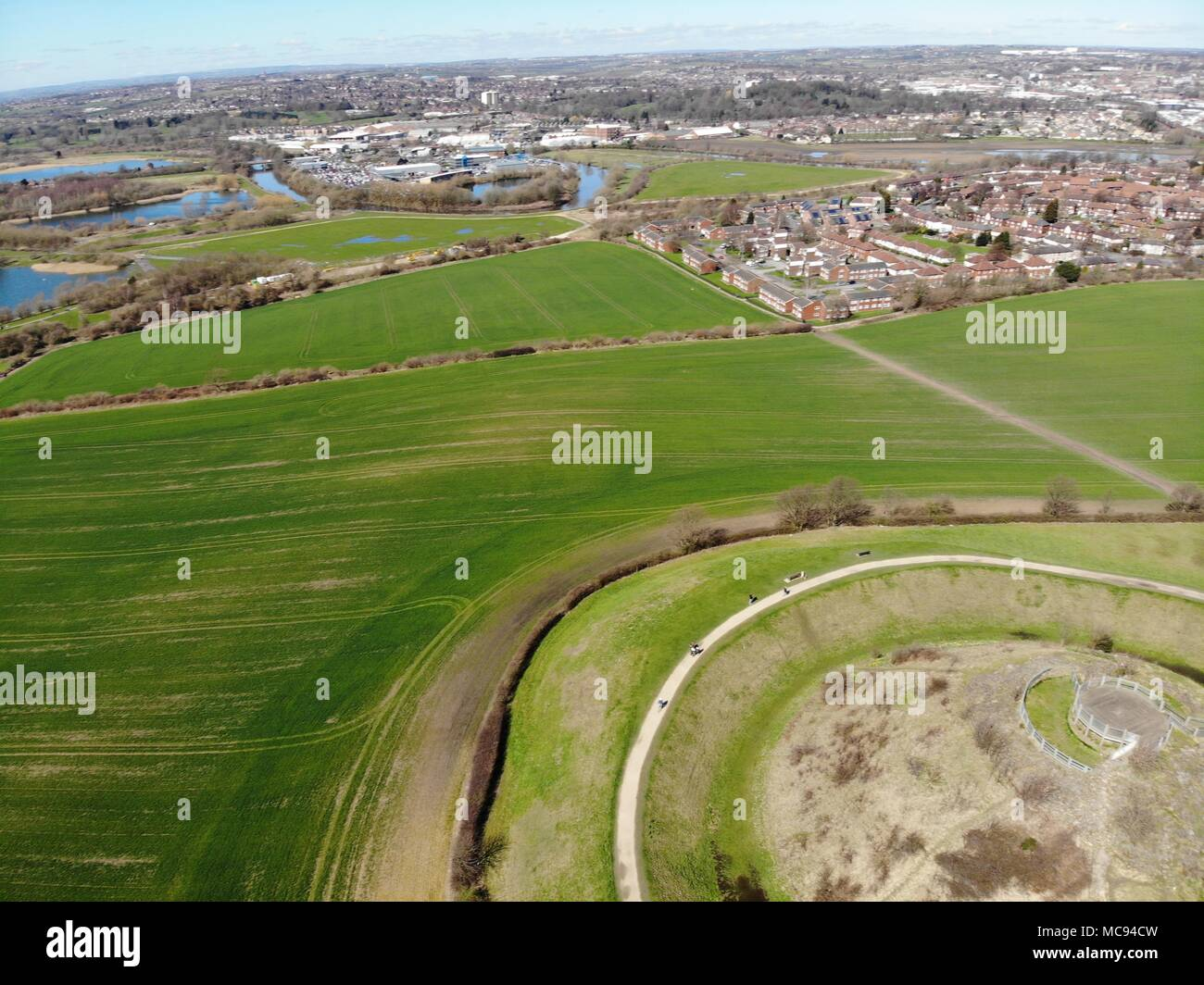 Aerial photos of Sandel Castle in Wakefield in the UK, the ruins of the castle have a moat around the castle grounds, it's also covered in green grass Stock Photo