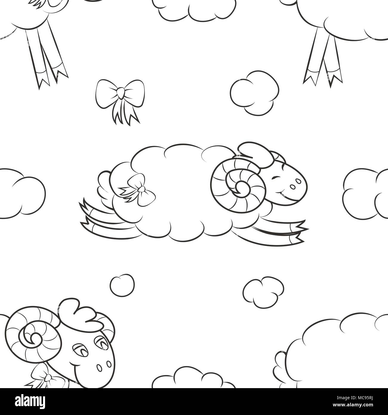 Furry sheep flying in the clouds - Stock Image