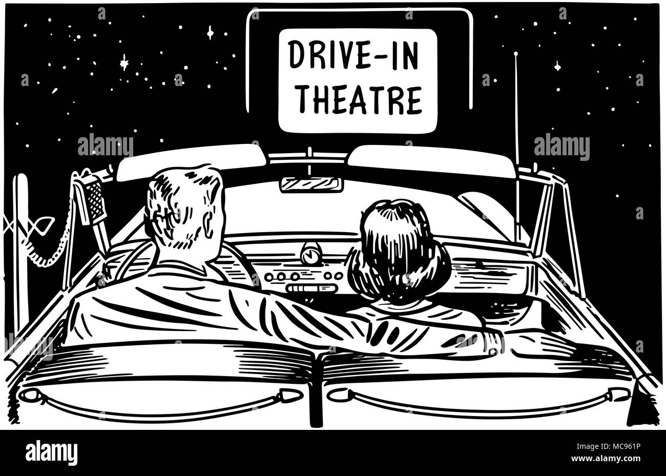 Couple At Drive-In Theatre - Retro Clipart Illustration - Stock Image