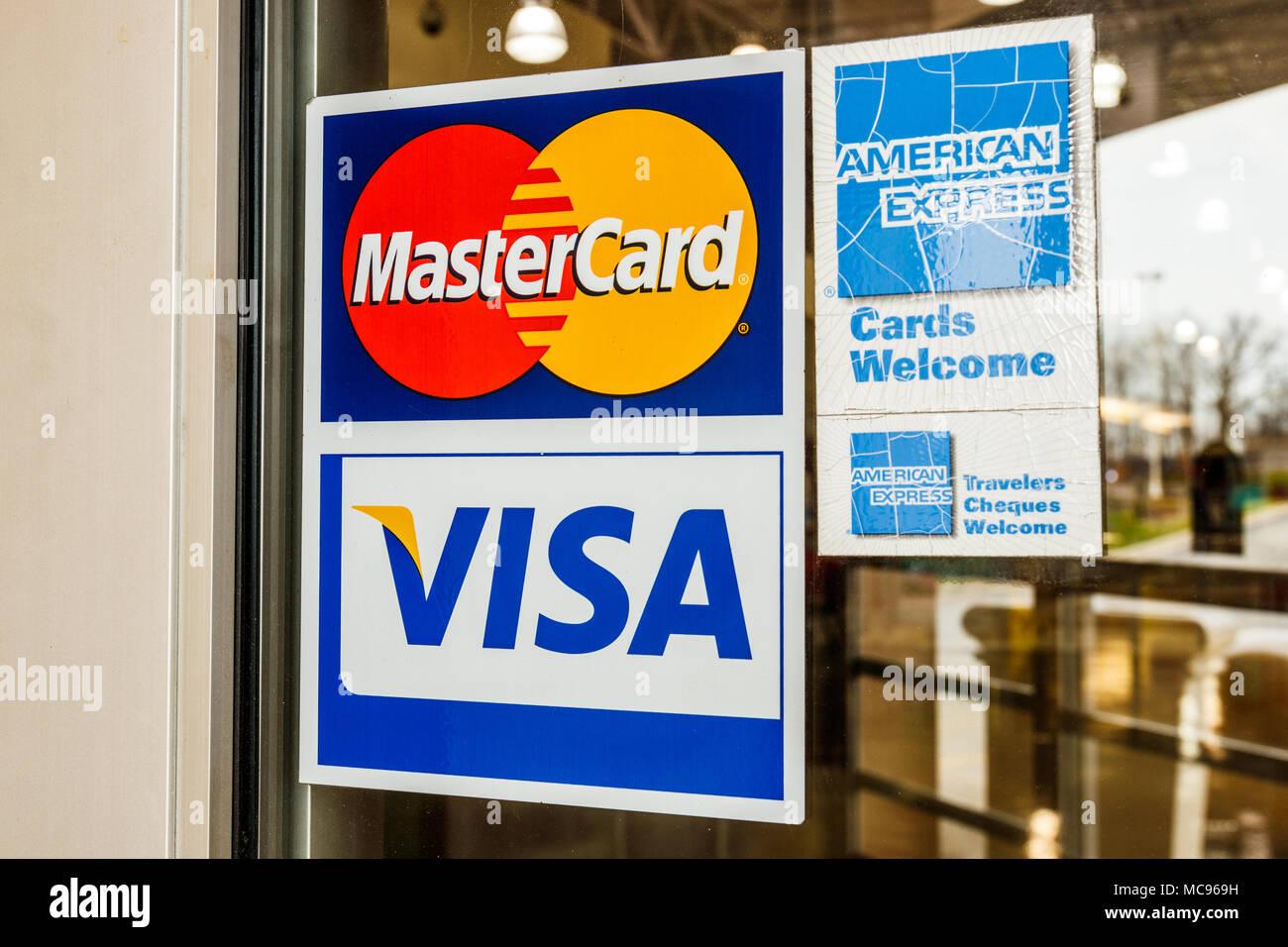 Indianapolis - Circa April 2018: VISA, MasterCard and