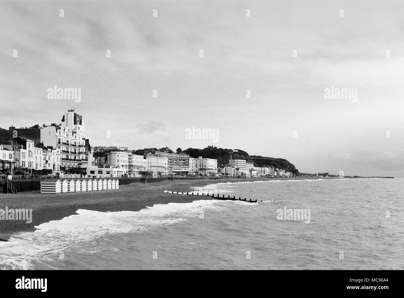 Hastings on the Sussex Coast, UK, looking East from the pier - Stock Image