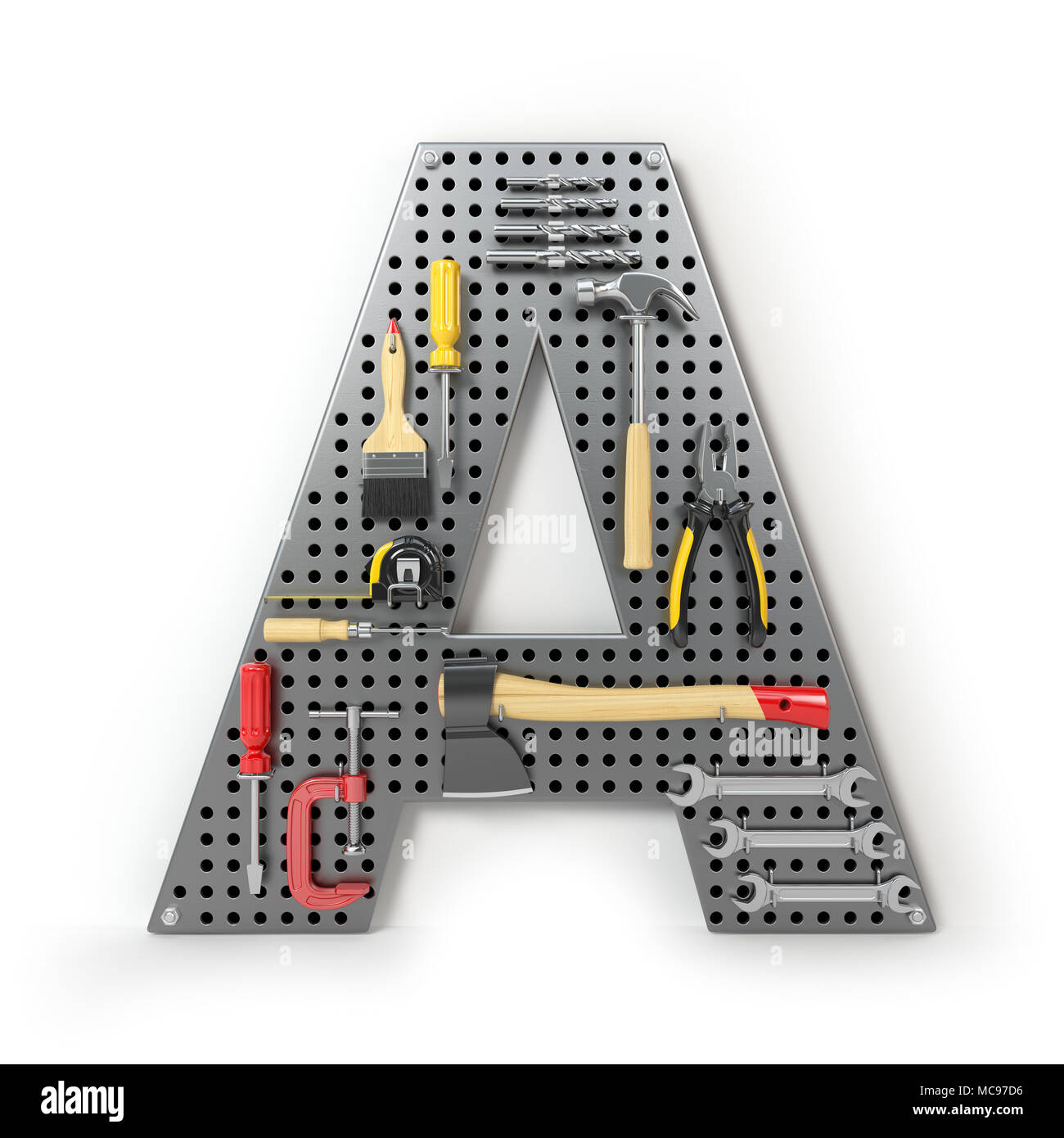 Letter A. Alphabet from the tools on the metal pegboard isolated on white. 3d illustration - Stock Image
