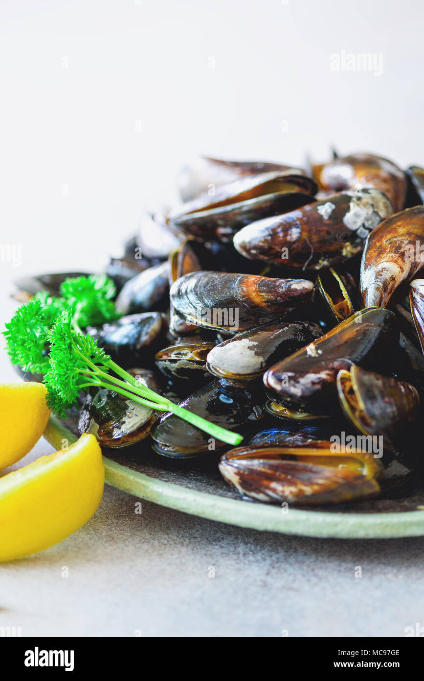 Boiled mussels with seaweed, sea plants on white stone concrete background. Top view, copy space. - Stock Image