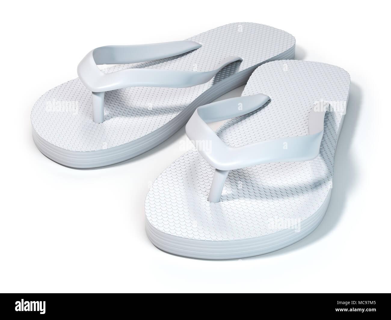 7009e0ef8dfcb White flip flops isolated on white background. 3d illustration - Stock Image