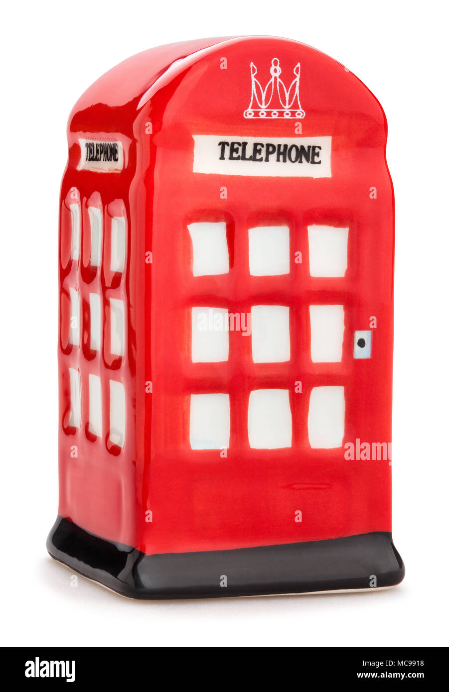 artificial british telephone booth path isolated - Stock Image