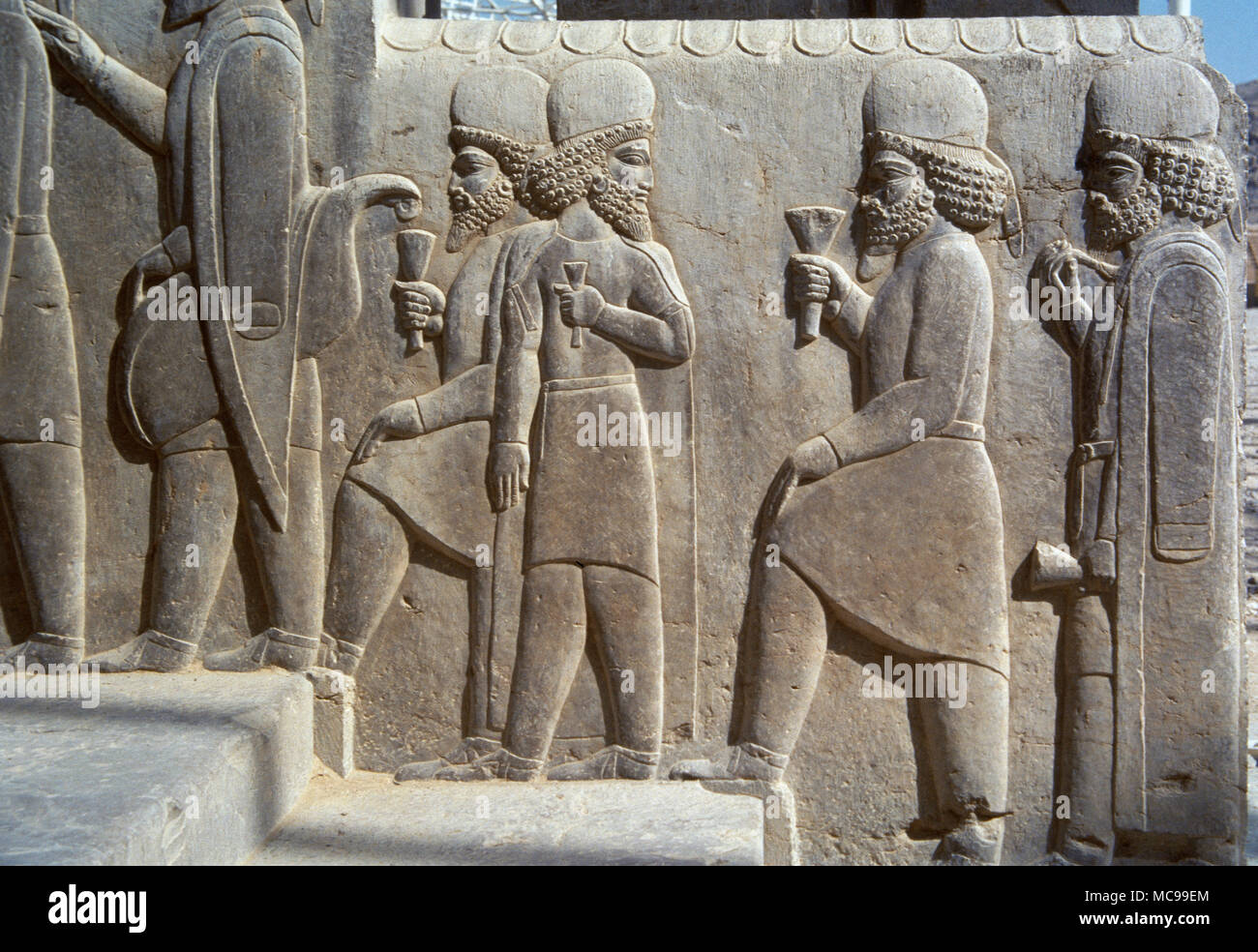Achaemenid Empire Persepolis Palace Apadana The Tripylon Or The Central Palace The Audience Hall Of Darius Relief Of Dignitaries Addressing The Party Of Nowruz Celebration 5th Century Bc Xerxes I And Artaxerxes