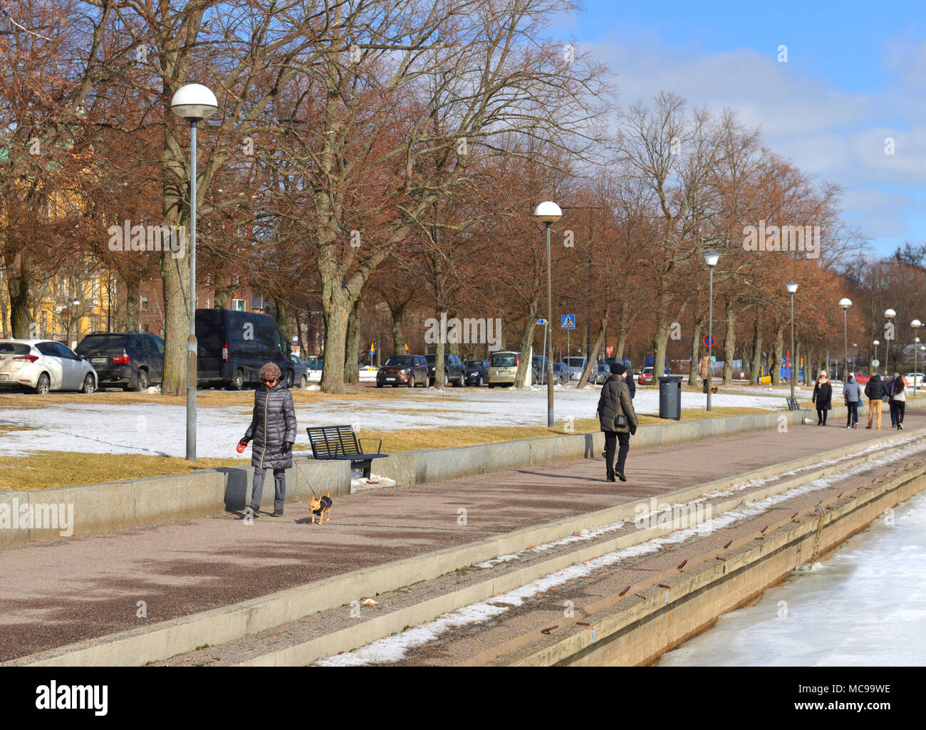 Walk with dog along embankment in early spring Stock Photo