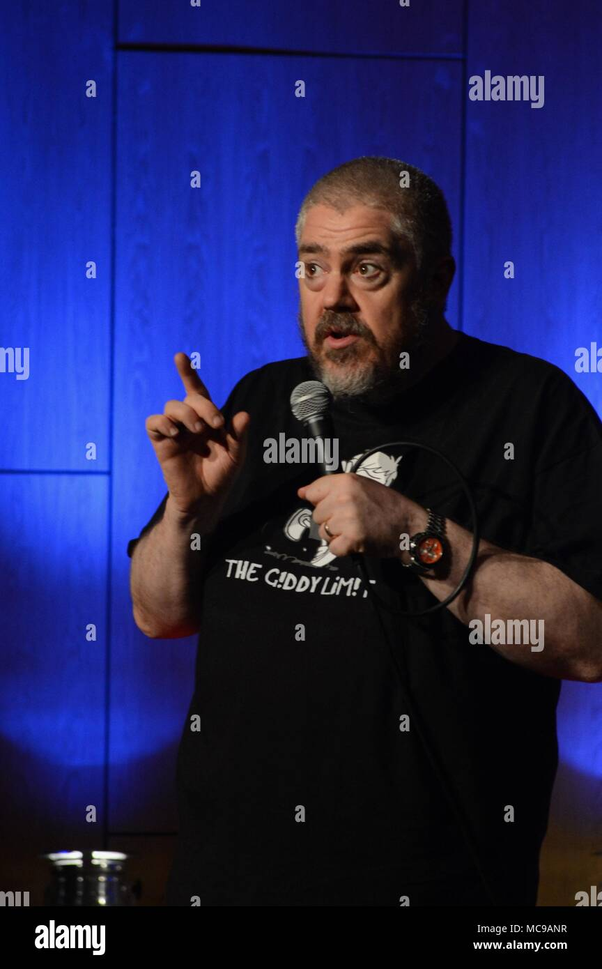 Phil Jupitus Comedian on stage at Mareel Shetland Scotland - Stock Image