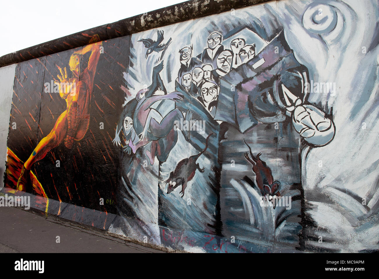 East Side Gallery. The largest remaining section of the Berlin Wall, also one of the world's largest open-air galleries. Berlin, Germany - Stock Image