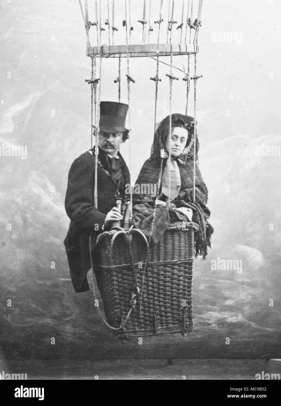 Felix Nadar, Self-Portrait with Wife Ernestine in a Balloon Gondola, 1865 - Stock Image