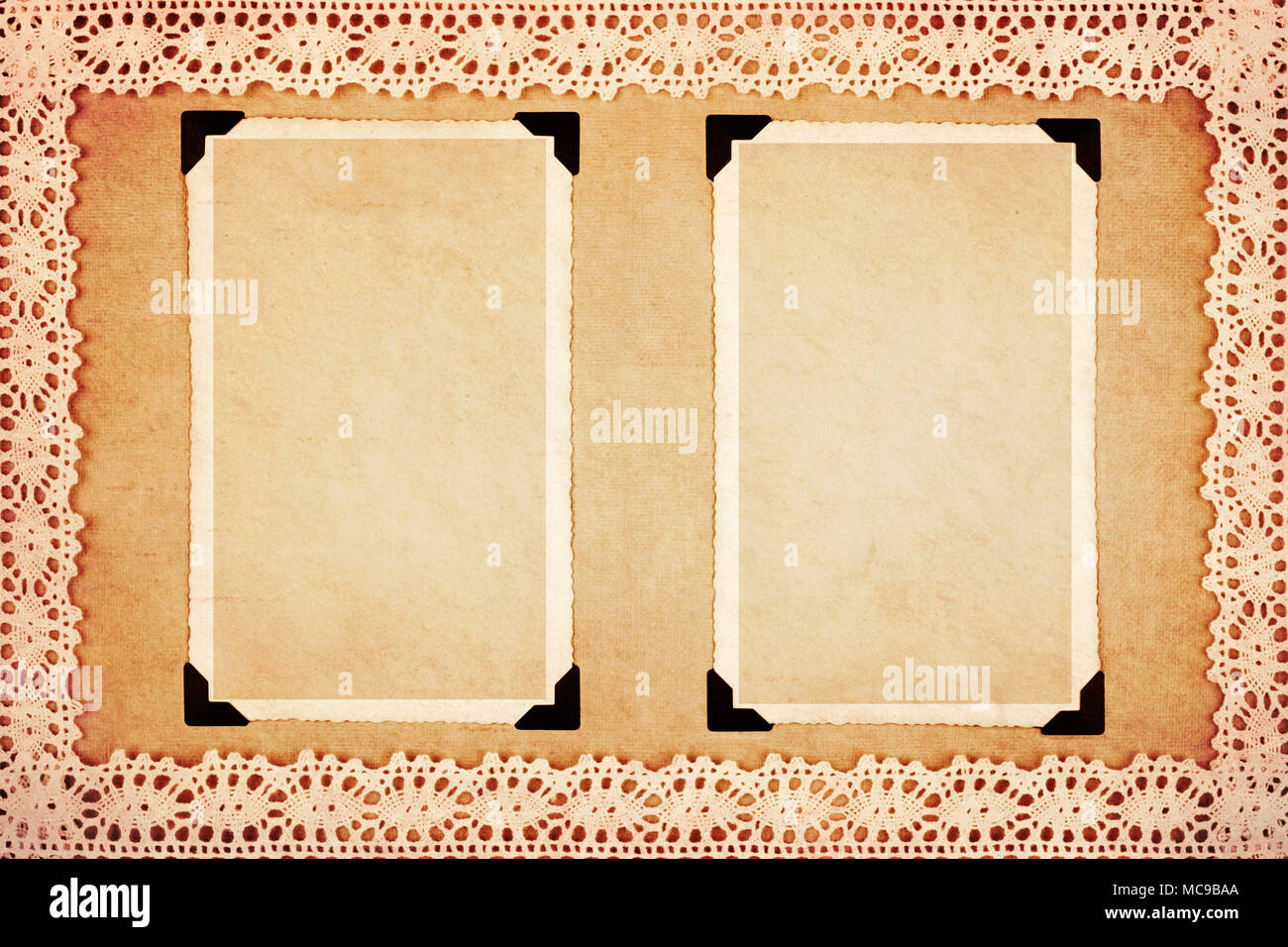 Two blank retro photo frames on decorative paper framed with lace ...
